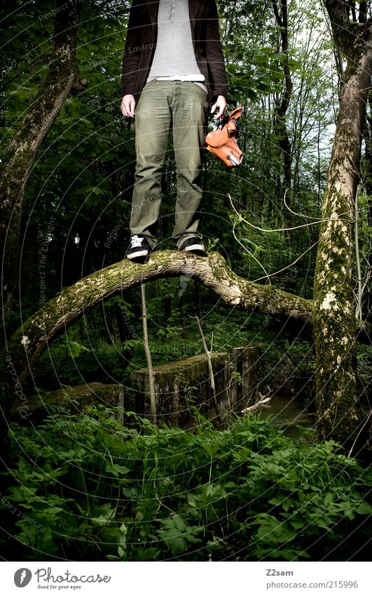 Human being Nature Tree Forest Dark Environment Landscape Fear Masculine Dangerous Exceptional Stand Threat Bushes Mask Creepy