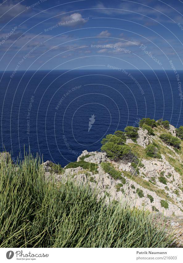 Water Sky Summer Vacation & Travel Far-off places Freedom Landscape Coast Waves Horizon Rock Island Majorca Summer vacation Cap Formentor