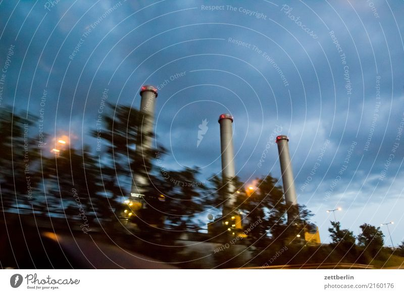 force Electricity generating station Thermal power station Chimney 3 Evening Closing time Night Twilight Sky Heaven Clouds Weather Rain Motion blur Highway