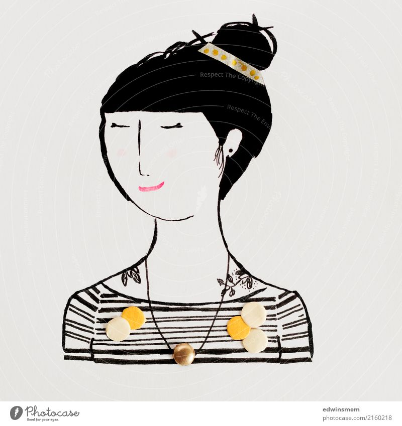 Dots and stripes Leisure and hobbies Handicraft Feminine Young woman Youth (Young adults) 1 Human being Accessory Jewellery Tattoo Black-haired Paper Decoration