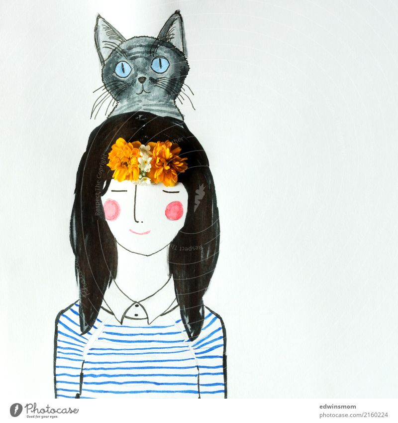 Hello Cat Leisure and hobbies Handicraft Draw Feminine 1 Human being Blossom Accessory Black-haired Long-haired Pet Paper Decoration Discover Relaxation Dream