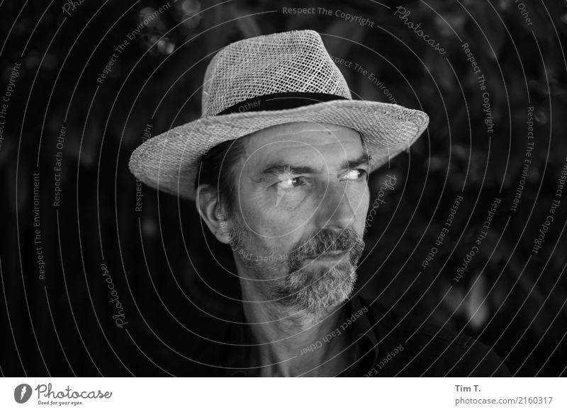 Man with straw hat Human being Masculine Adults Head 1 45 - 60 years Senses Beard hair Straw hat Hat Black & white photo Berlin Prenzlauer Berg Exterior shot