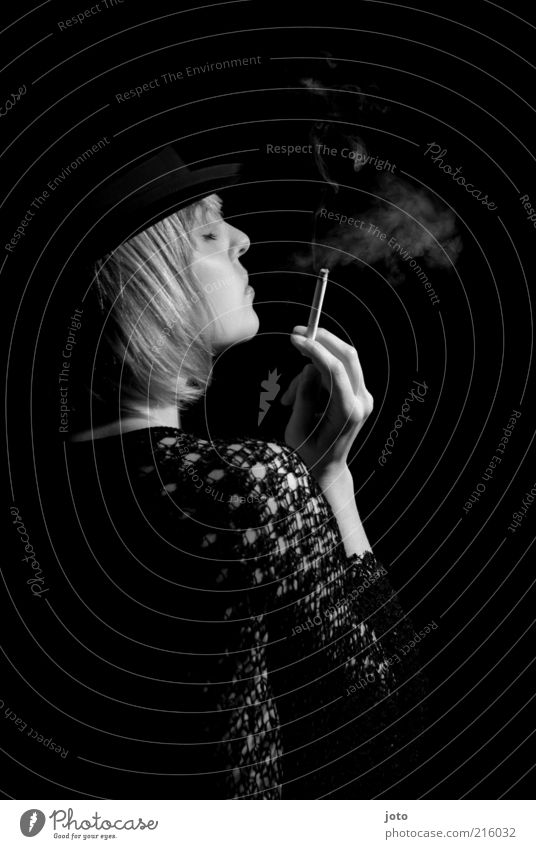 Woman Calm Adults Dark Sadness Elegant Esthetic Smoking Hat Stage play Lady To enjoy Smoke Intoxicant Cigarette Rich