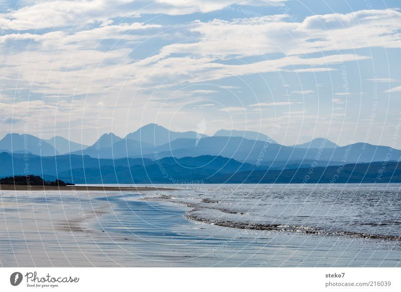 Scottish Coast II Hill Mountain Waves Beach Ocean Relaxation Infinity Blue Loneliness Horizon Vacation & Travel Silhouette Mountain range Sandy beach Haze
