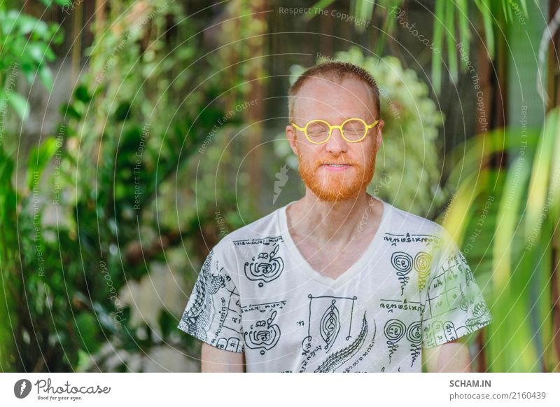 Red hair man with a red beard. Yoga teacher portrait Human being Man Beautiful Green Relaxation Joy Adults Lifestyle Healthy Natural Happy Garden Head Masculine