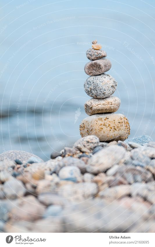 stone stack Nature Landscape Water Summer Coast Beach Baltic Sea Stone Pebble Gravel beach Stone statue Sand Build Blue Power To console Wellness Inspiration
