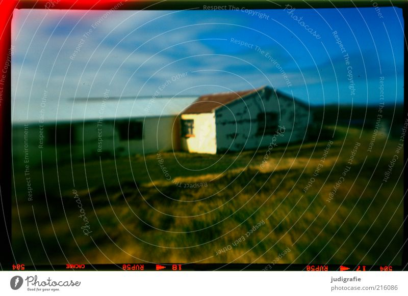 Nature Sky House (Residential Structure) Clouds Loneliness Dark Meadow Wall (building) Wall (barrier) Building Moody Living or residing Analog Hut Iceland