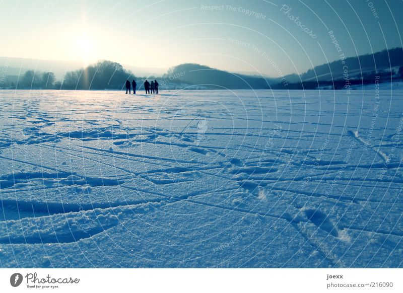 Human being Nature Sky Blue Winter Far-off places Life Cold Snow Relaxation Group Lake Landscape Ice Field Going