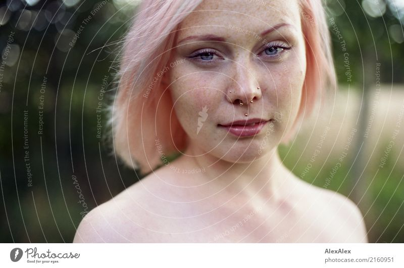 Portrait of a young woman with freckles and pink blond hair Lifestyle Style already Well-being Summer vacation Young woman Youth (Young adults) Face Shoulder