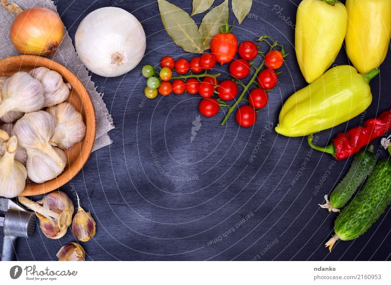 Fresh vegetables Food Vegetable Bowl Kitchen Wood Green Red Black Tomato Cherry pepper vintage background Ingredients Harvest ripe Salad Onion Garlic Parsley
