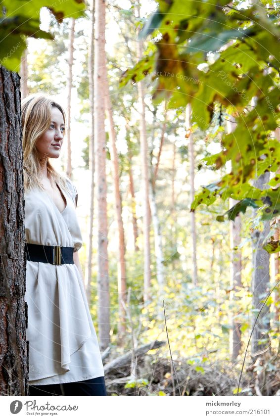 Strolling in the forest Life Well-being Contentment Senses Relaxation Calm Vacation & Travel Trip Freedom Feminine Young woman Youth (Young adults) 1