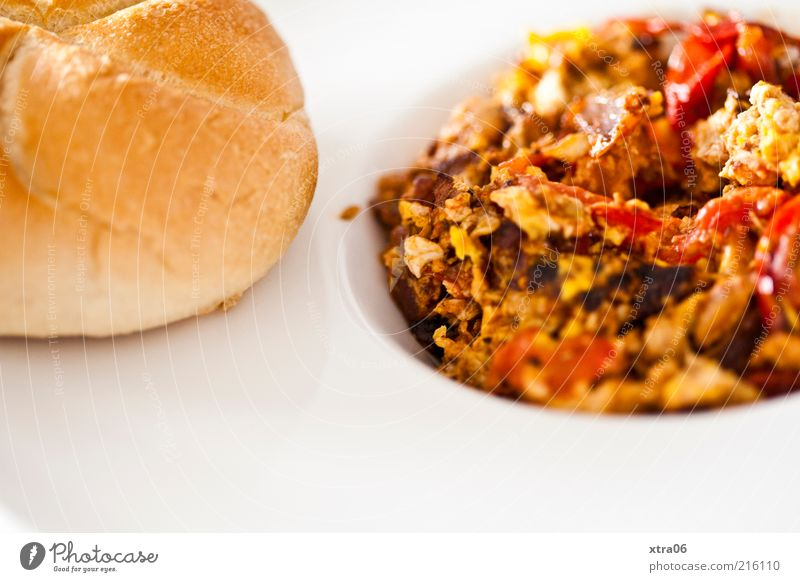 hungry for lunch yet? Food Dough Baked goods Roll Nutrition Breakfast Lunch Dinner Plate Delicious Scrambled eggs Tomato kaisersemmel Colour photo Interior shot