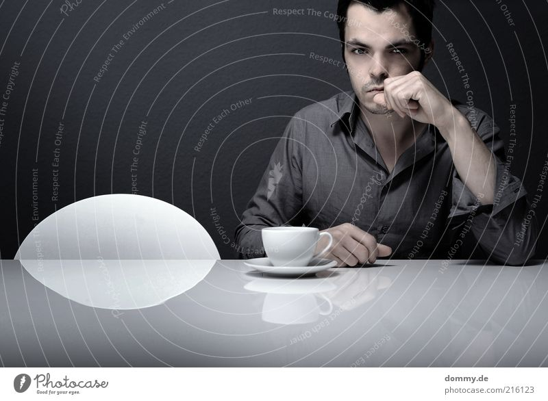 Human being Man Loneliness Adults Face Gray Think Sit Masculine Meditative Table Individual Drinking Shirt Cup Boredom