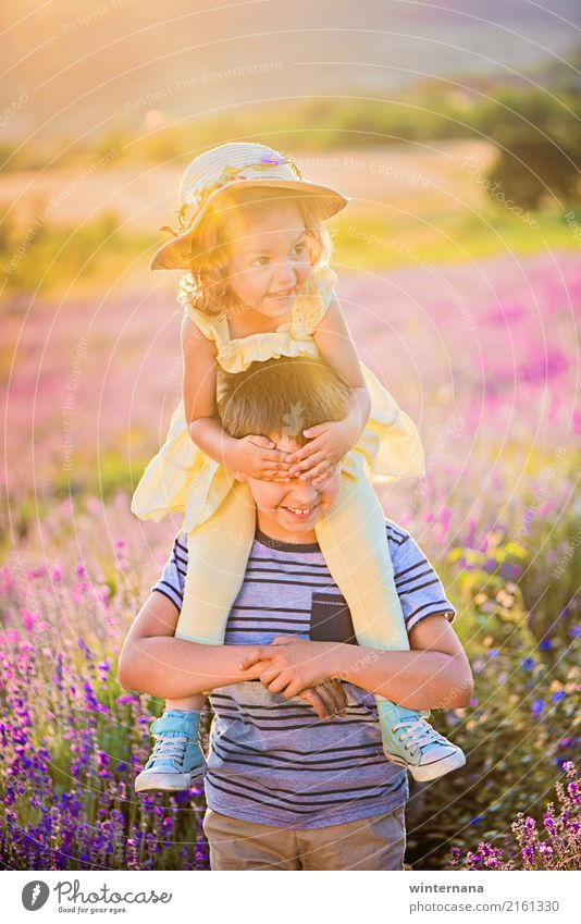 Guess who is there Girl Boy (child) Brothers and sisters 3 - 8 years Child Infancy Environment Nature Beautiful weather Tree Grass Lavender Field Lavender field