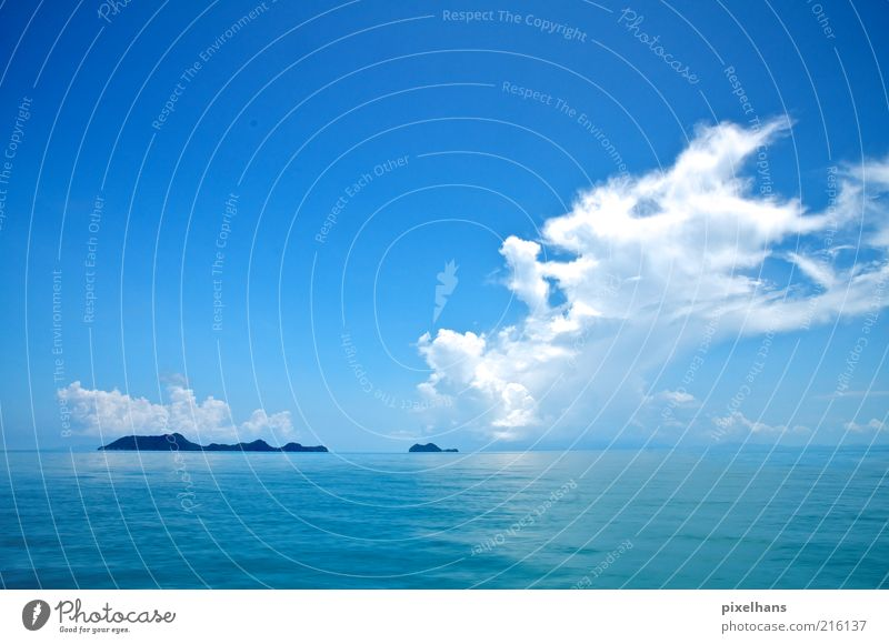 Water Sky White Ocean Blue Summer Vacation & Travel Clouds Far-off places Relaxation Freedom Warmth Landscape Weather Horizon Trip
