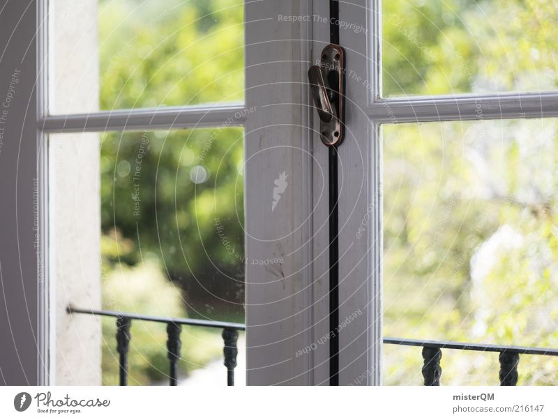 Window. House (Residential Structure) Detached house Esthetic Contentment Window pane Window frame Glazed facade View from a window Window seat White Green