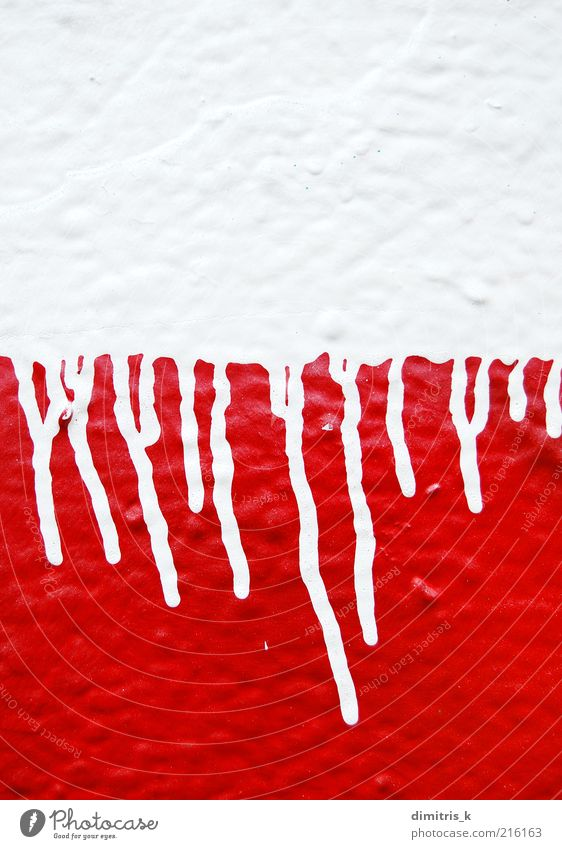 dripping paint Art Artist Painting and drawing (object) Graffiti Drop Red White Horror Force Colour Creativity Dripping running streaks Stencil spray Splash
