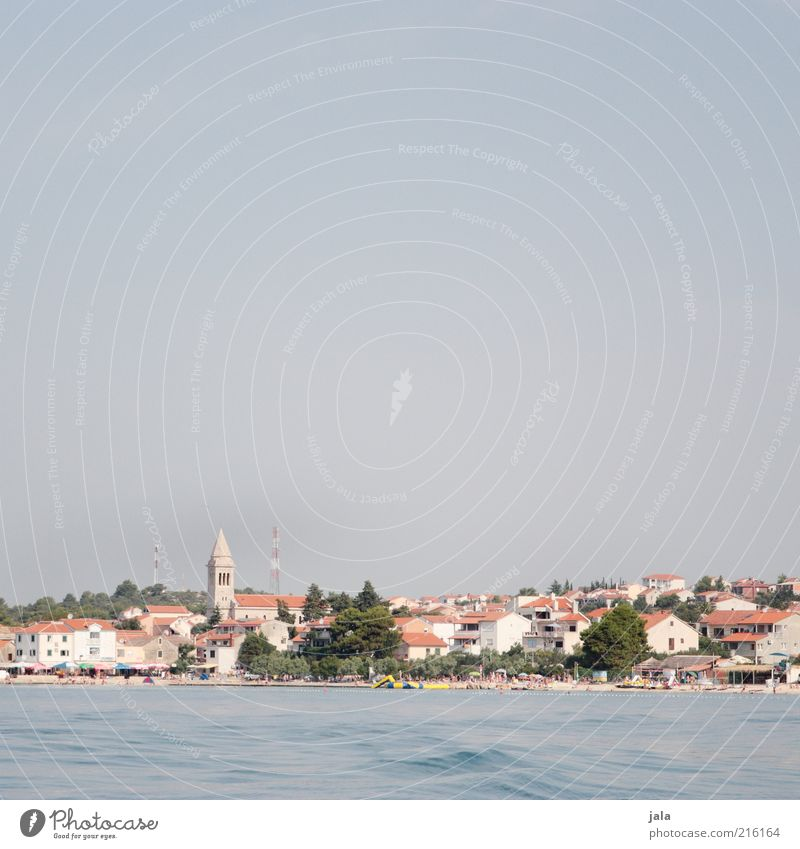 pakoštane Vacation & Travel Trip Ocean Sky Plant Tree Coast Town House (Residential Structure) Church Manmade structures Building Blue Croatia Colour photo