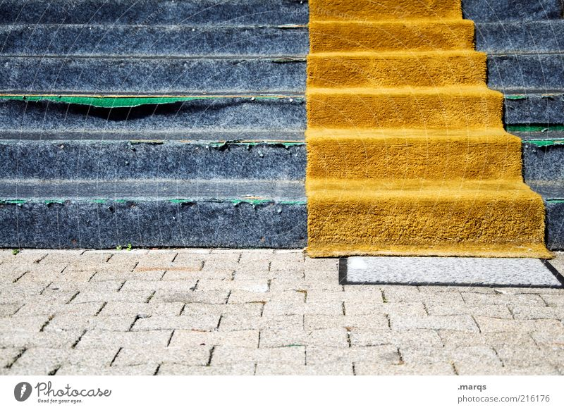 up and running Career Stairs Broken Blue Decline Orange Carpet Go up Colour photo Exterior shot Deserted Fitted carpet Descent Shabby Stumbling block Derelict