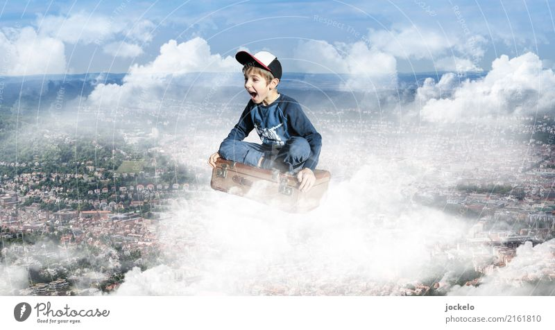 flying case Masculine Child 1 Human being 3 - 8 years Infancy Art Air Clouds Summer Town Tourist Attraction Aviation Airplane Passenger plane Aircraft Jeans