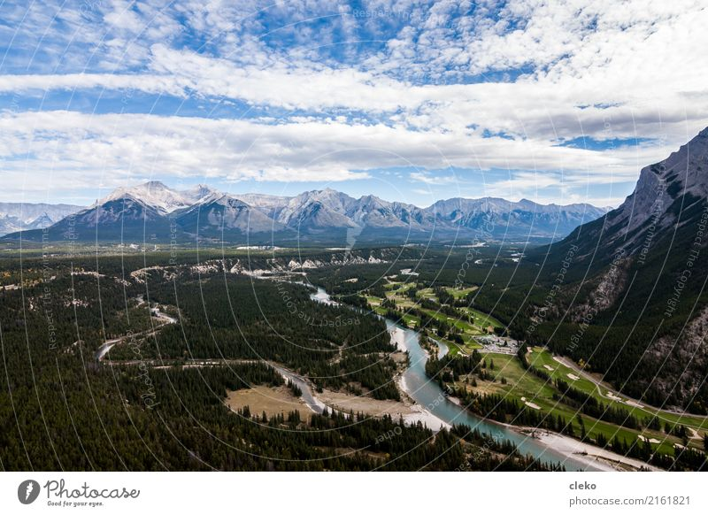 Banff National Park Nature Landscape Earth Sand Air Water Sky Clouds Horizon Summer Weather Beautiful weather Mountain Peak River bank Vacation & Travel