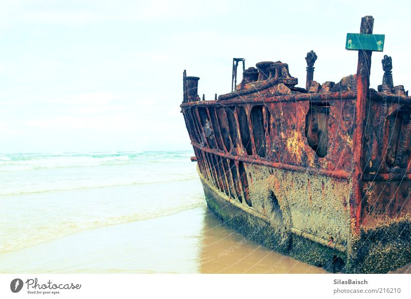 The wreck Summer Beach Ocean Island Waves Water Storm Cruise Passenger ship Watercraft Wreck Old Exceptional Stranded Colour photo Exterior shot Copy Space left
