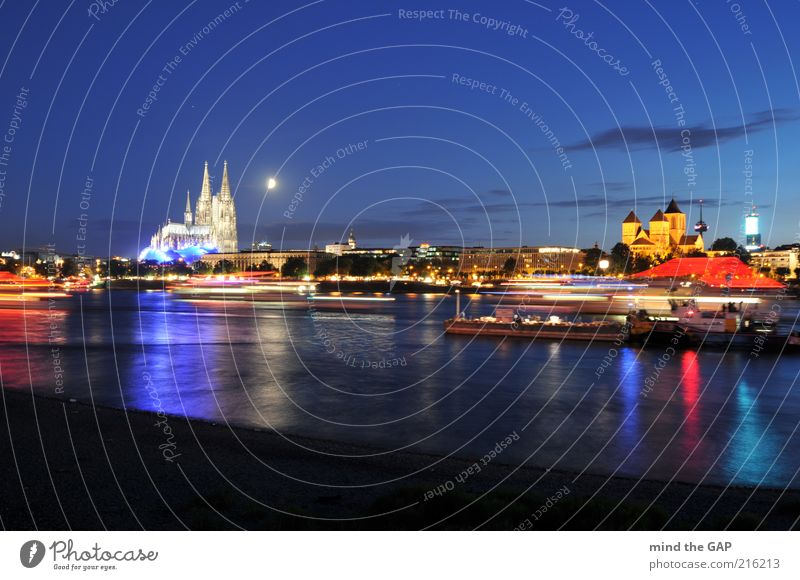 the moon over cologne - the moon over cologne Downtown Old town Skyline Church Dome Tourist Attraction Landmark Cologne Cathedral Musical Dome St. Kunibert