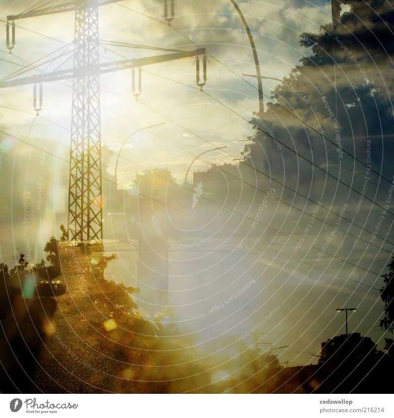 Yellow Street Esthetic Logistics Illuminate Services Electricity pylon Street lighting Transmission lines Double exposure Overhead line Summer's day