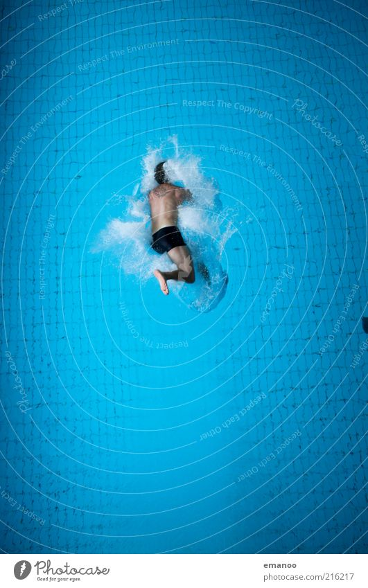 splashing one's belly Lifestyle Joy Leisure and hobbies Sports Aquatics Sportsperson Swimming pool Human being Masculine 1 Water To fall Jump Tall Cold Blue