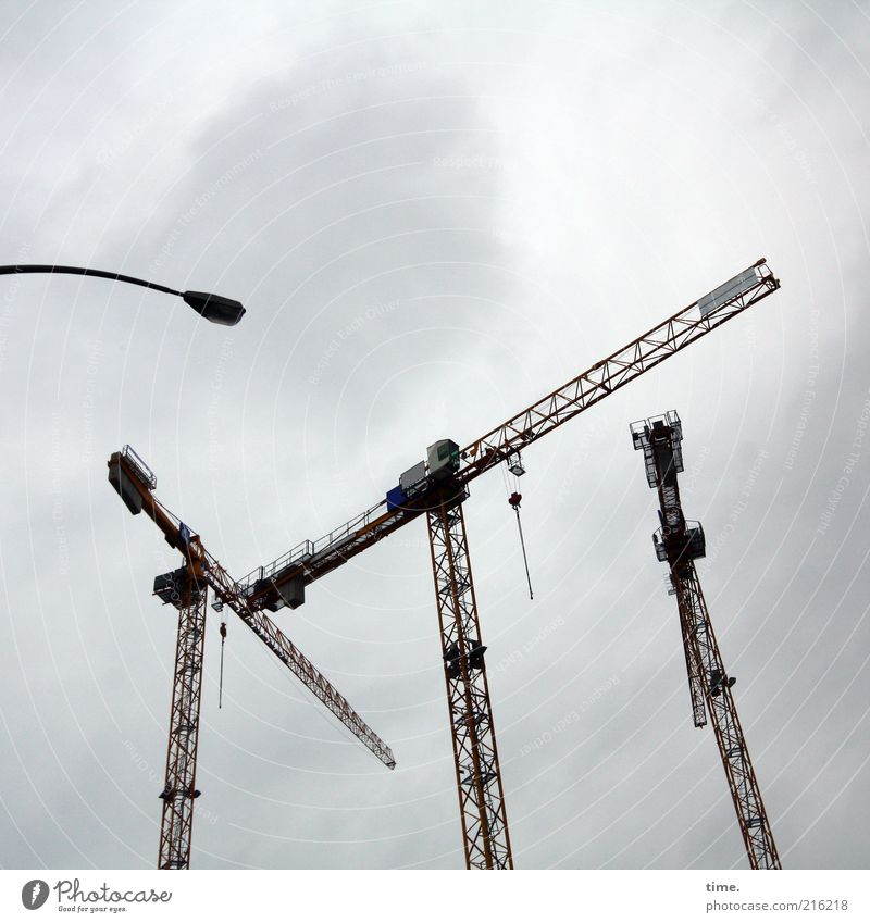 HH10.1] - Yaw necks Crane Lamp Street lighting Tall Gray Exterior shot Deserted Metal Metalware Construction vehicle Work and employment Construction site