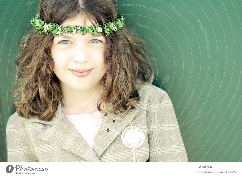 Child Youth (Young adults) Beautiful Green Girl Joy Face Eyes Feminine Happy Smiling Mouth Friendliness Jacket Brunette Long-haired