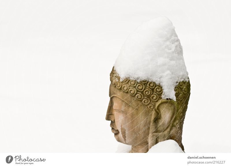 White Snow Stone Religion and faith Art Statue Meditation Historic Sculpture Culture Nature Buddha Perspective Copy Space left Buddhism Statue of Buddha
