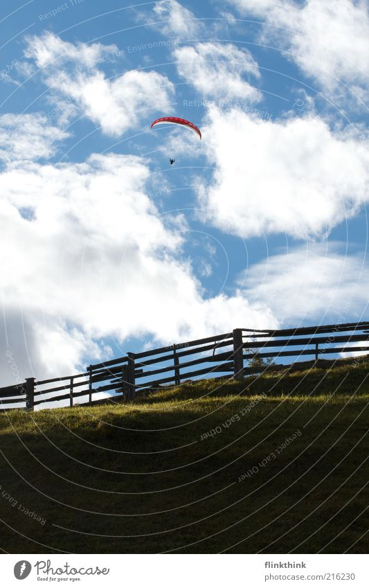 Human being Sky Nature Blue Clouds Environment Landscape Sports Mountain Grass Flying Hill Beautiful weather Fantastic Fence Paragliding