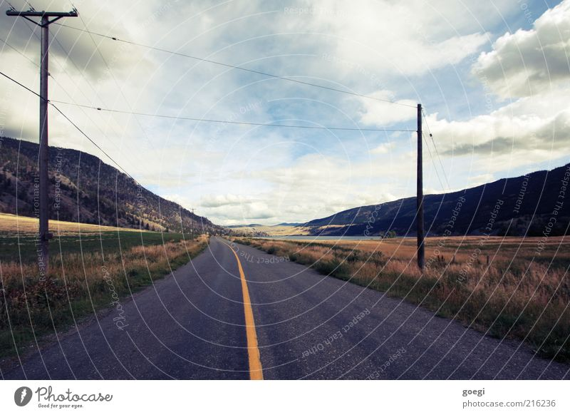 from somewhere to nowhere Water Sky Clouds Summer Autumn Grass Hill Lake Canada Americas Traffic infrastructure Road traffic Street Lane markings Center line