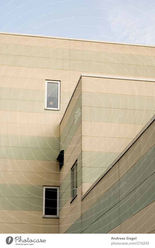 Sky Window Architecture Gray Building Line Facade Concrete Gloomy Stripe Striped Detail Light Flat roof Concrete wall