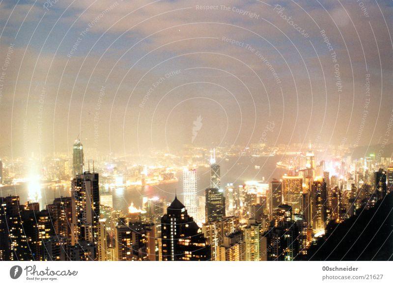 Clouds Architecture High-rise China Night Skyline Hongkong