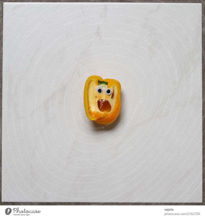 foodface - horrified Food Vegetable Pepper Nutrition Androgynous Head Face Eyes Mouth 1 Human being Looking Scream Yellow White Emotions Moody Disappointment