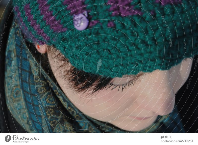 Dreaming allowed Feminine Face 18 - 30 years Youth (Young adults) Adults Think Dreamily Woolen hat Scarf Nose Pallid Eyelash Mascara Hair and hairstyles