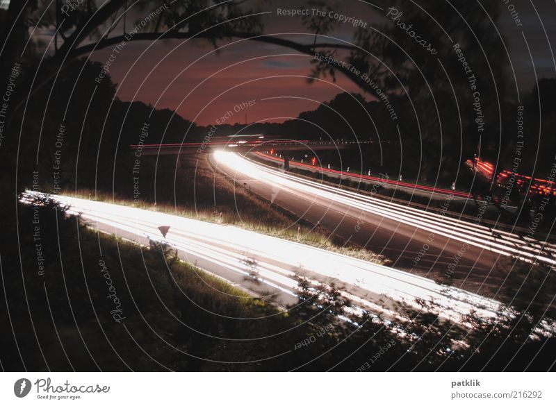 Clouds Dark Car Signs and labeling Transport Speed Branch Tracks Highway Dusk Traffic lane Night shot Twigs and branches Motor vehicle Expressway exit