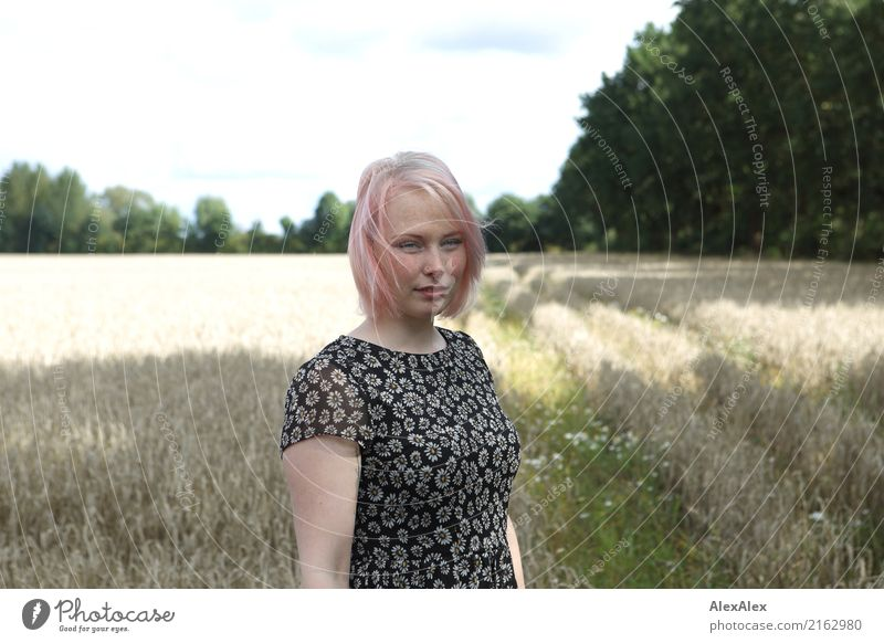 Portrait of a young woman standing in a field in a summer dress already Life Trip Young woman Youth (Young adults) Face Freckles 18 - 30 years Adults Landscape
