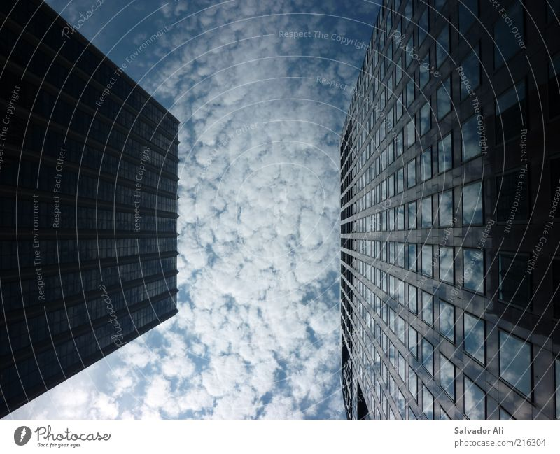 itchy clouds Beautiful weather San Francisco USA California Americas High-rise Bank building Architecture Facade Window Concrete Glass Steel Sharp-edged Simple