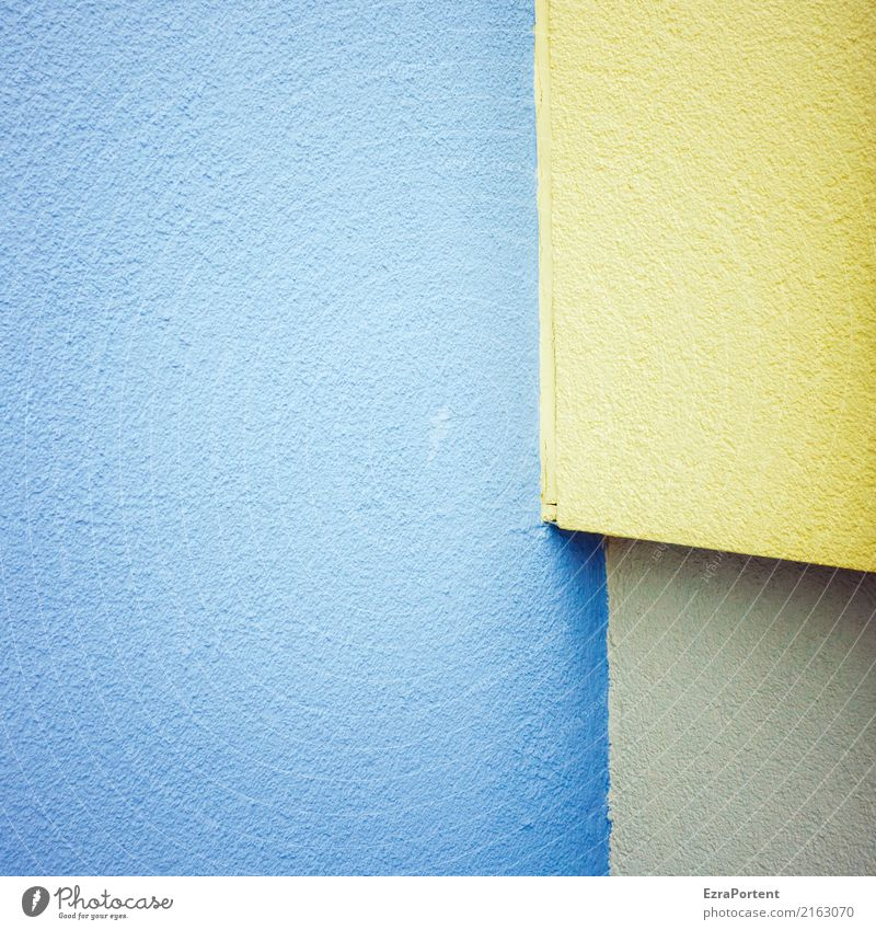 |- Style Design Building Architecture Wall (barrier) Wall (building) Facade Stone Concrete Line Blue Yellow Plaster Corner Geometry Background picture Colour
