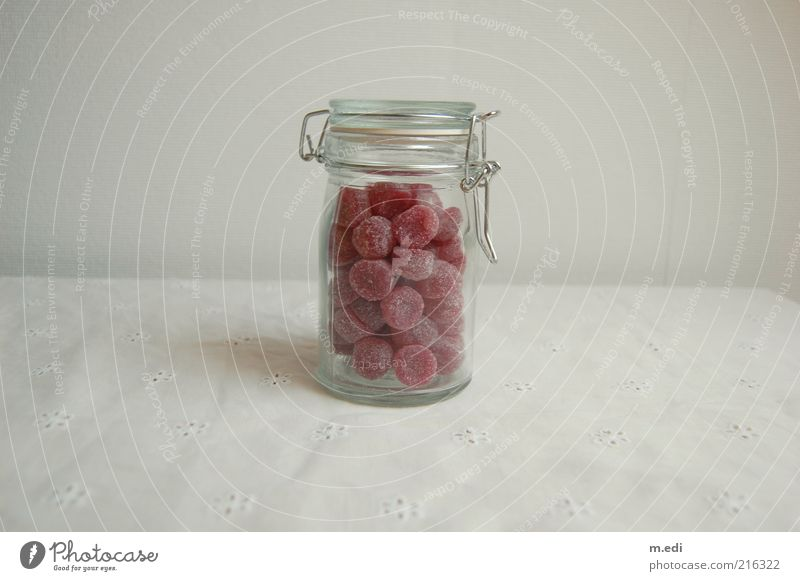 very sweet. Food Candy Glass Containers and vessels Preserving jar Sweet Pink White Colour photo Interior shot Food photograph Isolated Image candy jar Full