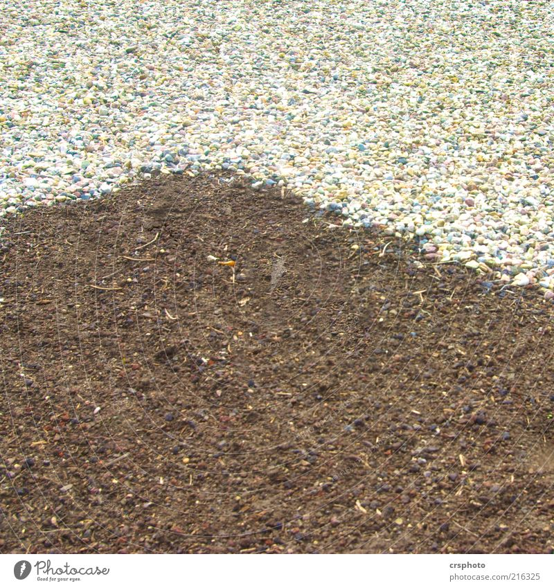 Corner, ey... Deserted Stone Sand Stripe Sharp-edged Brown Gray White Gravel Colour photo Detail Day Background picture Copy Space Earth Floor covering Graphic