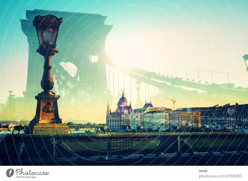 Old Art Tourism Europe Bridge Historic Tourist Attraction Manmade structures Street lighting Capital city Lantern City trip Double exposure Work of art