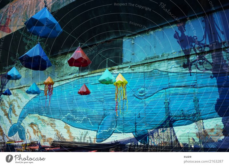 Blue Graffiti Feasts & Celebrations Party City life Bridge Lantern Lampion Double exposure Drawing Street art Whale Budapest