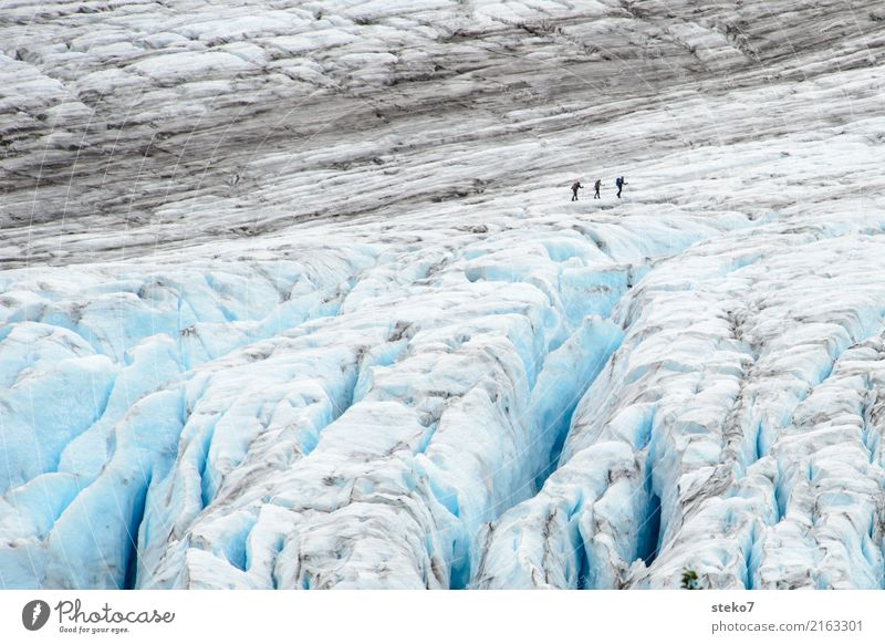 Human being Blue White Winter Cold Lanes & trails Group Gray Hiking Ice Dangerous Threat Frost Attachment Freeze Edge