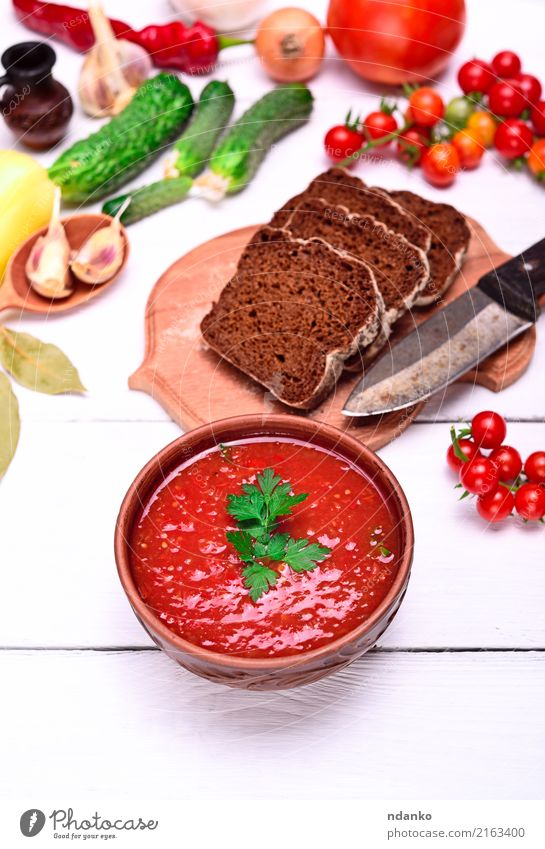 Gazpacho spanish cold soup Vegetable Bread Soup Stew Herbs and spices Nutrition Lunch Dinner Vegetarian diet Diet Plate Knives Summer Table Kitchen Wood Fat