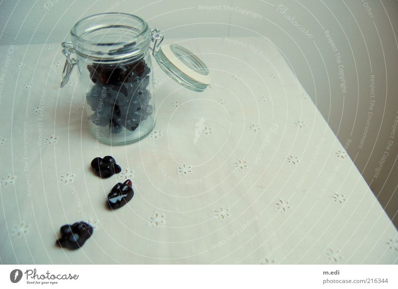 black currant Candy Redcurrant Glass Preserving jar Sweet Colour photo Interior shot Day Open Deserted Tablecloth