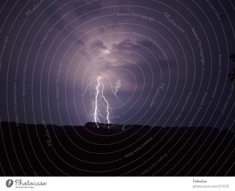 Beautiful thunderstorm Lightning Aurora Borealis Night Long exposure Thunder and lightning